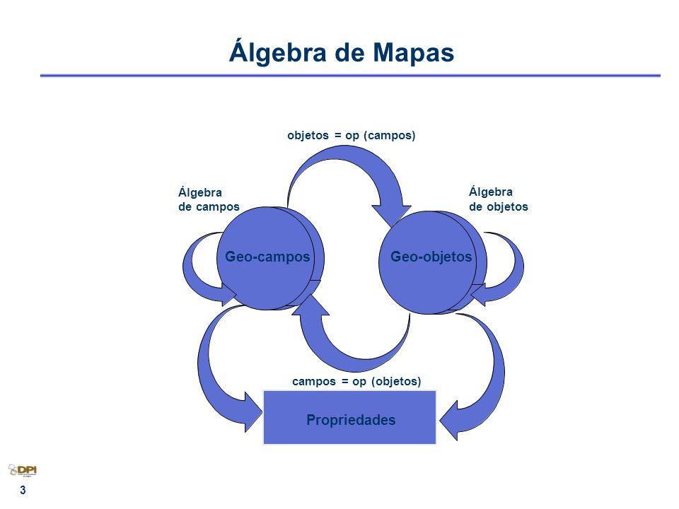 4 Álgebra de Mapas A partir do modelo de dados definidos no SPRING foi estabelecida uma taxonomia para as diversas operações de análise geográfica: – Operações sobre geo-campos, – Operações sobre geo-objetos, – Operações de transformação entre geo-campos e geo-objetos, – Operações mistas entre geo-campos e geo-objetos.