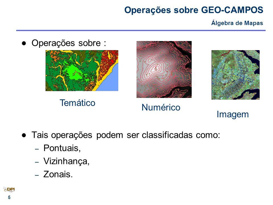 6 OPERAÇÕES PONTUAIS – Unárias ou de Transformação: entrada é um único geo-campo, equivale a um mapeamento entre os geo-campos de entrada e saída.