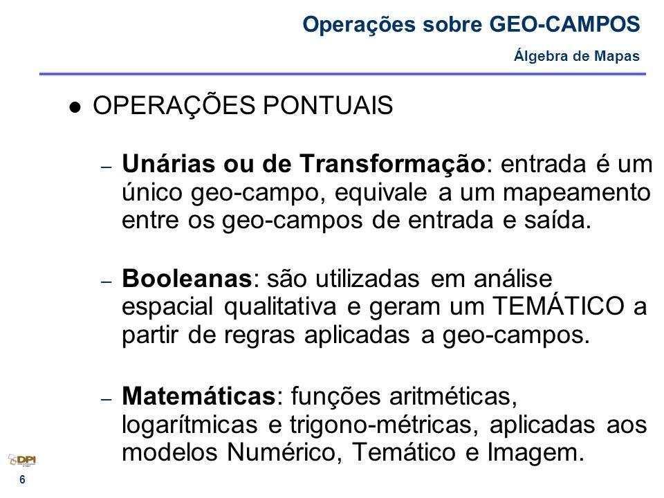 7 – UNÁRIAS OU DE TRANSFORMAÇÃO: Operações sobre GEO-CAMPOS OPERAÇÕES PONTUAIS - Álgebra de Mapas ENTRADA ENTRADASAÍDA NOME DA OPERAÇÃO TEMÁTICOMNTPONDERAÇÃO TEMÁTICOTEMÁTICORECLASSIFICAÇÃO IMAGEM IMAGEMTEMÁTICOFATIAMENTO MNTTEMÁTICO FATIAMENTO DE CLASSES