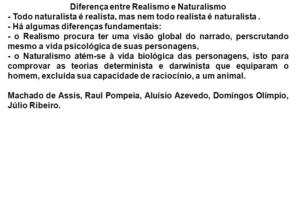 Diferença entre Realismo e Naturalismo - Todo naturalista é realista, mas nem todo realista é naturalista. - Há algumas diferenças fundamentais: - o R