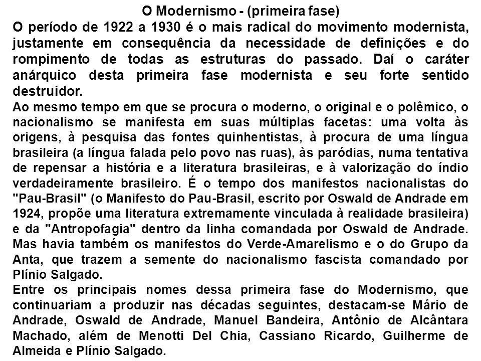 O Modernismo - (primeira fase) O período de 1922 a 1930 é o mais radical do movimento modernista, justamente em consequência da necessidade de definiç