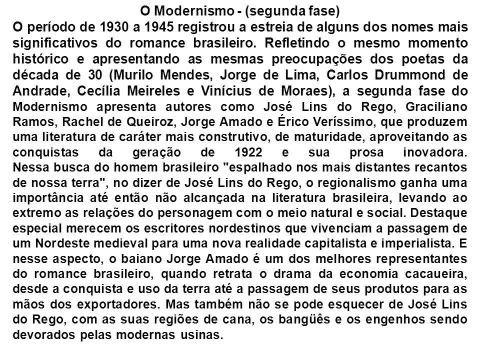 O Modernismo - (segunda fase) O período de 1930 a 1945 registrou a estreia de alguns dos nomes mais significativos do romance brasileiro. Refletindo o