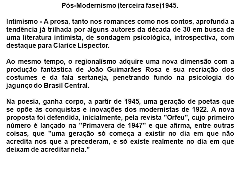 Pós-Modernismo (terceira fase)1945. Intimismo - A prosa, tanto nos romances como nos contos, aprofunda a tendência já trilhada por alguns autores da d
