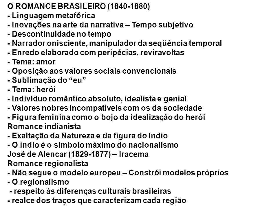 O ROMANCE BRASILEIRO (1840-1880) - Linguagem metafórica - Inovações na arte da narrativa – Tempo subjetivo - Descontinuidade no tempo - Narrador onisc