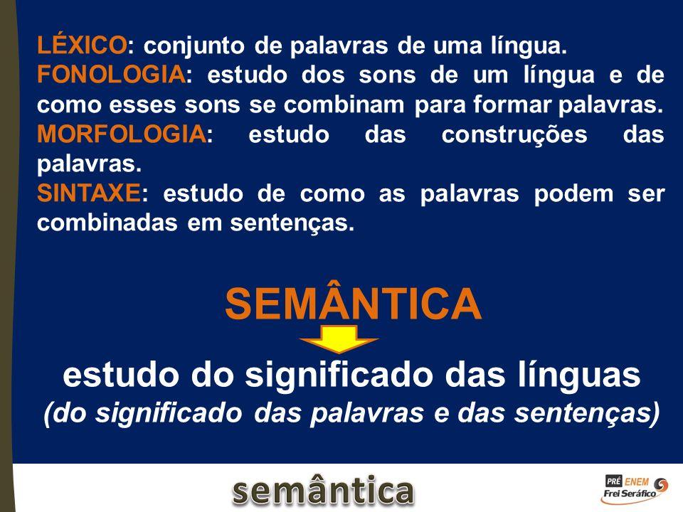 SEMÂNTICA estudo do significado das línguas (do significado das palavras e das sentenças) LÉXICO: conjunto de palavras de uma língua. FONOLOGIA: estud