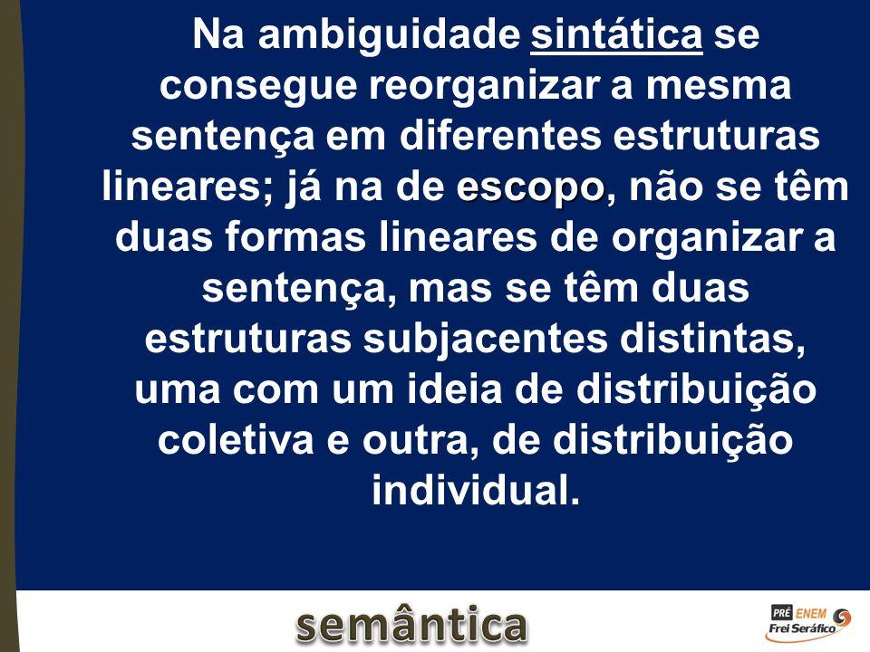 escopo Na ambiguidade sintática se consegue reorganizar a mesma sentença em diferentes estruturas lineares; já na de escopo, não se têm duas formas li