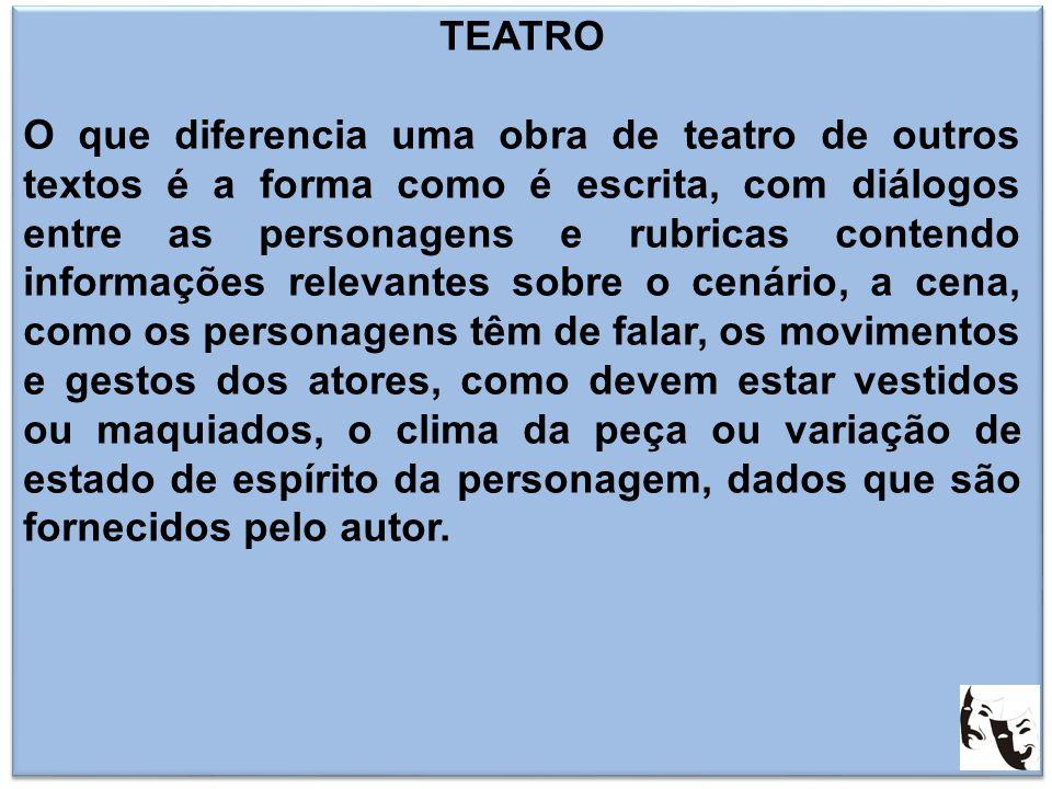 TEATRO O que diferencia uma obra de teatro de outros textos é a forma como é escrita, com diálogos entre as personagens e rubricas contendo informaçõe