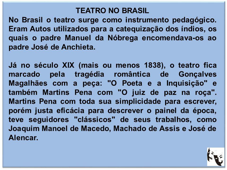 TEATRO NO BRASIL No Brasil o teatro surge como instrumento pedagógico. Eram Autos utilizados para a catequização dos índios, os quais o padre Manuel d