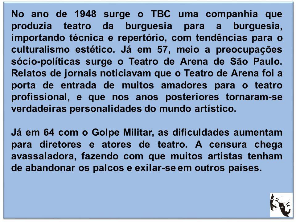 No ano de 1948 surge o TBC uma companhia que produzia teatro da burguesia para a burguesia, importando técnica e repertório, com tendências para o cul