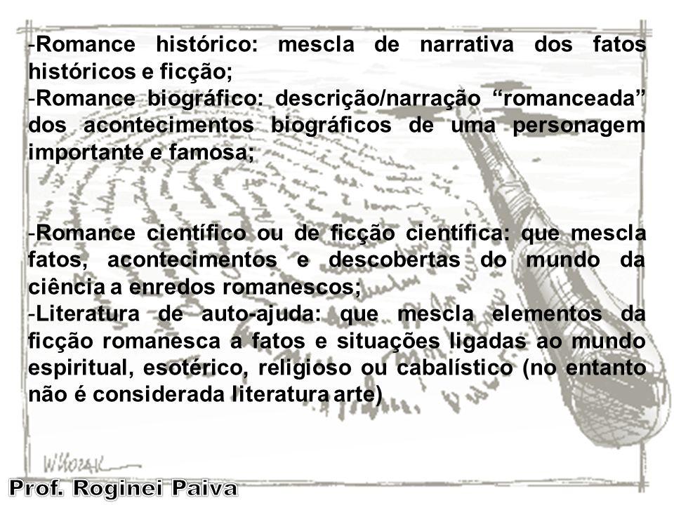 -Romance histórico: mescla de narrativa dos fatos históricos e ficção; -Romance biográfico: descrição/narração romanceada dos acontecimentos biográfic