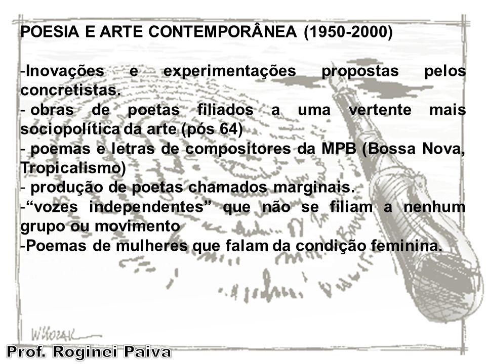 POESIA E ARTE CONTEMPORÂNEA (1950-2000) -Inovações e experimentações propostas pelos concretistas. - obras de poetas filiados a uma vertente mais soci