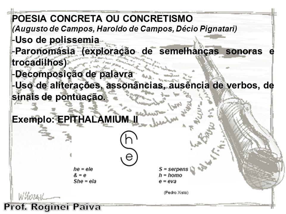 POESIA CONCRETA OU CONCRETISMO (Augusto de Campos, Haroldo de Campos, Décio Pignatari) -Uso de polissemia -Paronomásia (exploração de semelhanças sono