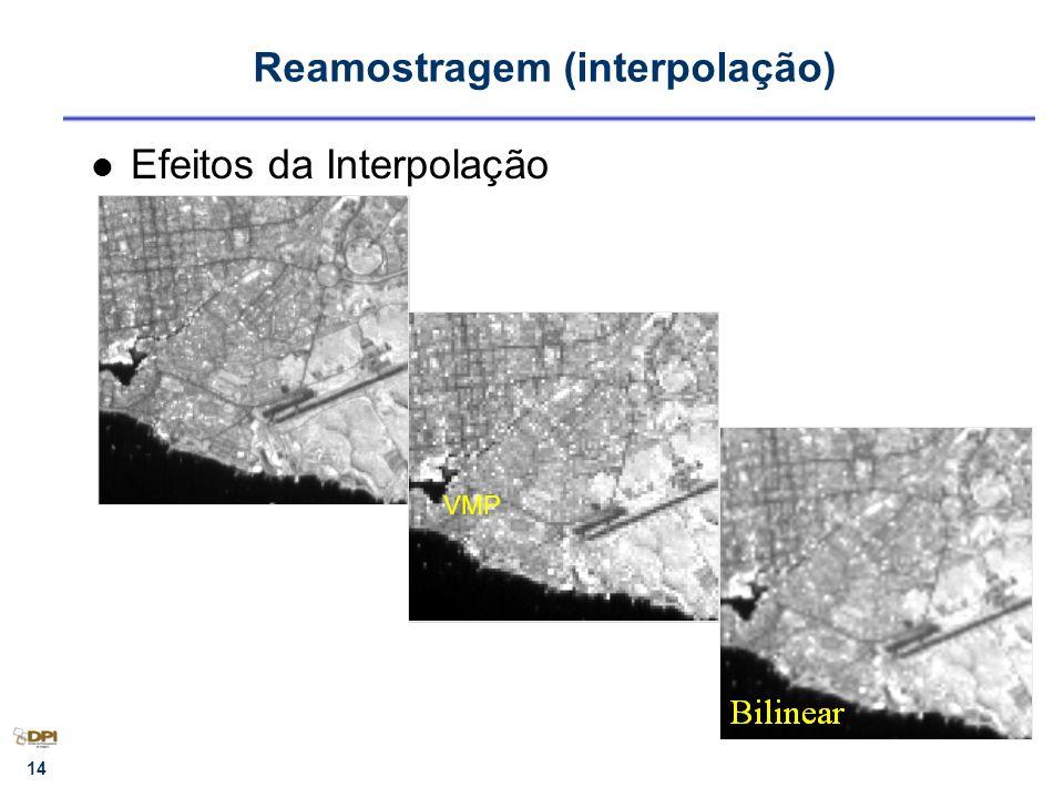 14 Reamostragem (interpolação) Efeitos da Interpolação VMP
