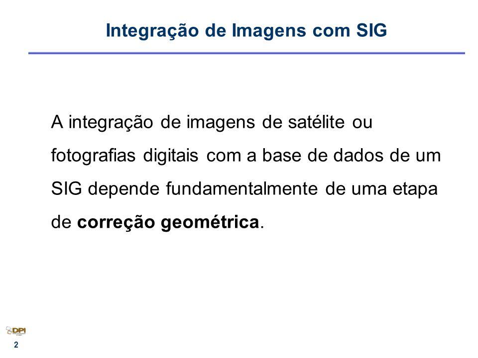2 Integração de Imagens com SIG A integração de imagens de satélite ou fotografias digitais com a base de dados de um SIG depende fundamentalmente de
