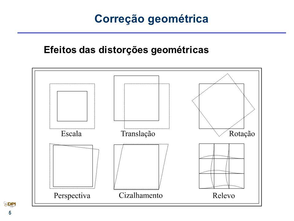 6 Transformações geométricas Ortogonal - 3 parâmetros 1 rotação, 2 translações Similaridade - 4 parâmetros 1 rotação, 1 escala, 2 translações Afim ortogonal - 5 parâmetros 1 rotação, 2 escalas, 2 translações Disponíveis no SPRING Afinidade - 6 parâmetros (polinômio de grau 1) 1 rotação, 1 rotação residual, 2 escalas, 2 translações Polinomiais de grau 2 e 3