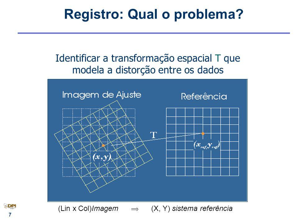 7 Registro: Qual o problema? Identificar a transformação espacial T que modela a distorção entre os dados (Lin x Col)Imagem (X, Y) sistema referência