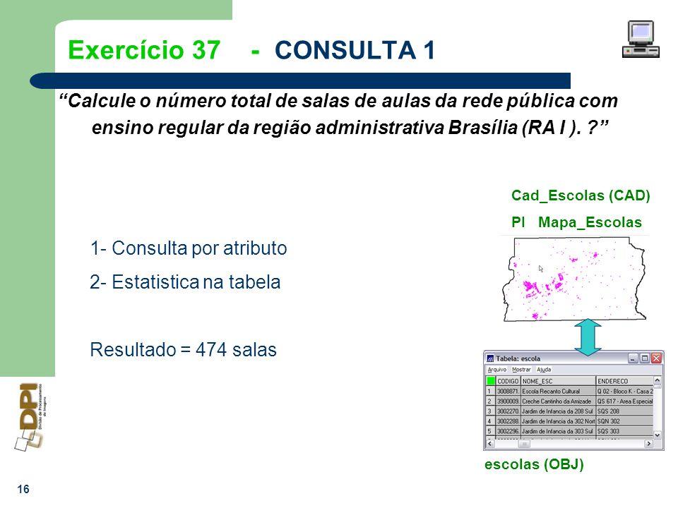 16 Exercício 37 - CONSULTA 1 Calcule o número total de salas de aulas da rede pública com ensino regular da região administrativa Brasília (RA I ). ?