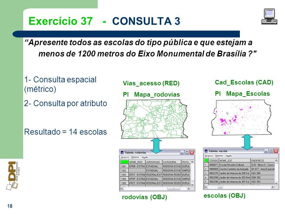 18 Exercício 37 - CONSULTA 3 Apresente todos as escolas do tipo pública e que estejam a menos de 1200 metros do Eixo Monumental de Brasília ?