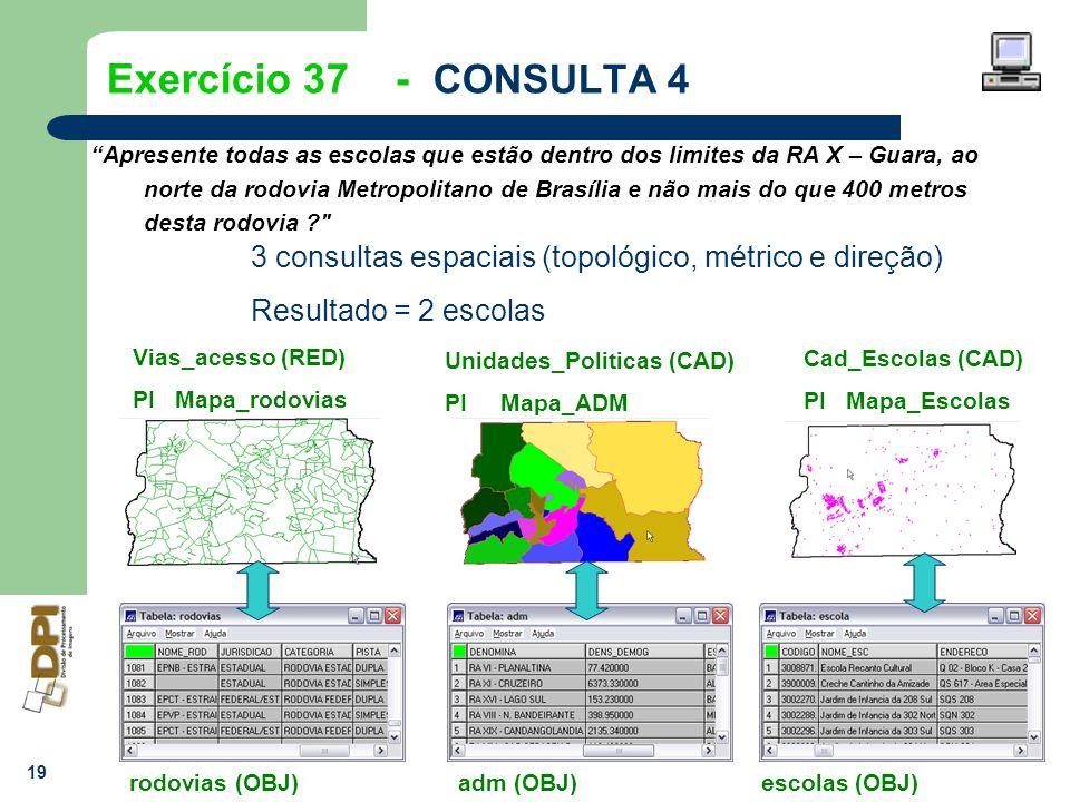 19 Exercício 37 - CONSULTA 4 Apresente todas as escolas que estão dentro dos limites da RA X – Guara, ao norte da rodovia Metropolitano de Brasília e