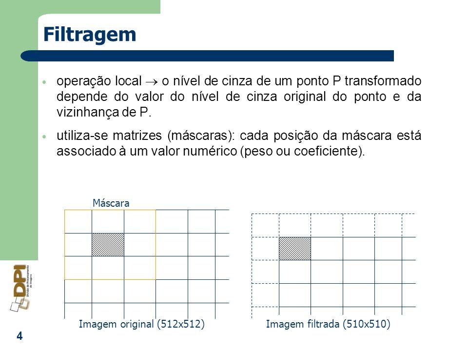 5 Filtragem soma os produtos dos pesos do filtro pelos níveis de cinza dos pixels correspondentes na máscara Imagem Original Imagem Filtrada