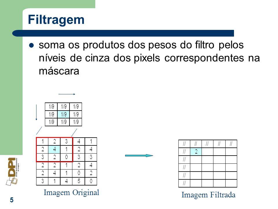 6 Filtros Implementados no SPRING FILTROS LINEARES – A média da imagem não se altera – Podem ter efeitos de suavização (filtros passa- baixas), realce de bordas e detalhes (filtros passa- altas) FILTROS NÃO-LINEARES – A média da imagem se altera após a filtragem – Filtros Morfológicos: realçam ou suavizam estruturas presentes na imagem com uma determinada forma