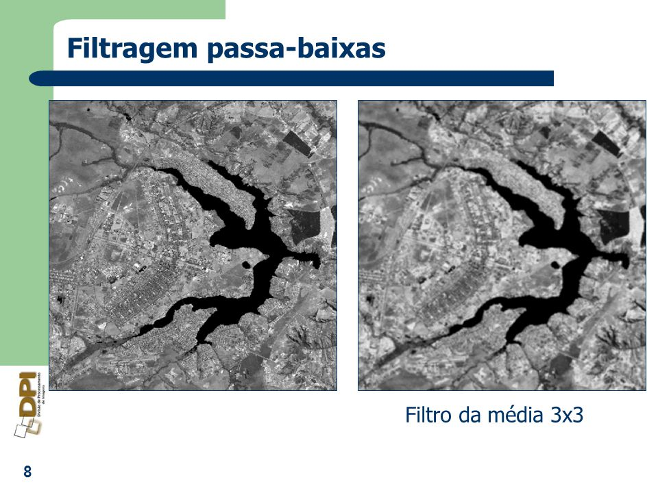9 Filtros Lineares: passa-altas Pesos positivos, negativos e nulos Diferença dos níveis de cinza Enfatiza o ruído 0 -1 0 -1 5 -1 0 -1 0 -1 -1 -1 -1 9 -1 -1 -1 -1 1 -2 1 -2 5 -2 1 -2 1