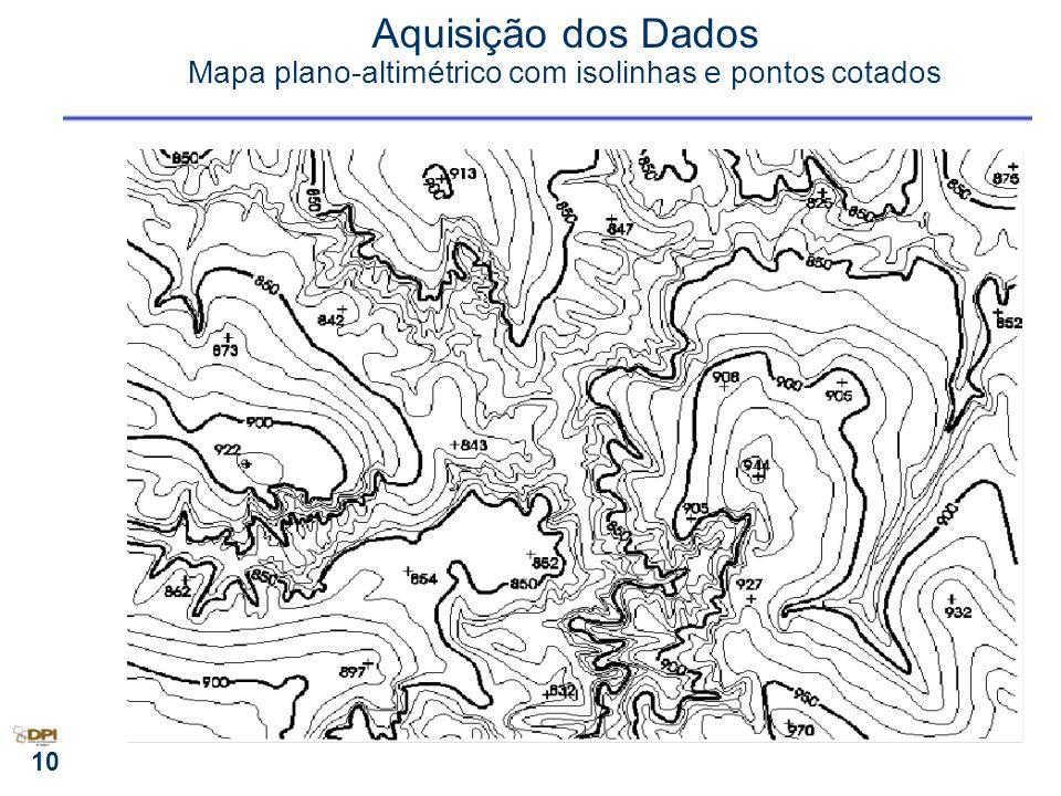 10 Aquisição dos Dados Mapa plano-altimétrico com isolinhas e pontos cotados