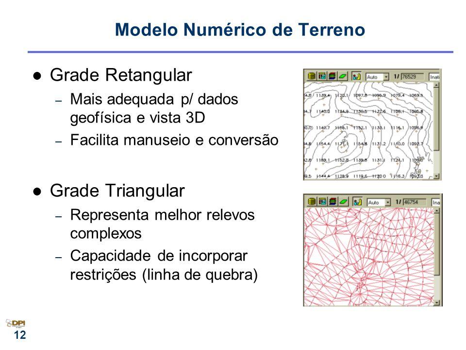 12 Modelo Numérico de Terreno Grade Retangular – Mais adequada p/ dados geofísica e vista 3D – Facilita manuseio e conversão Grade Triangular – Repres