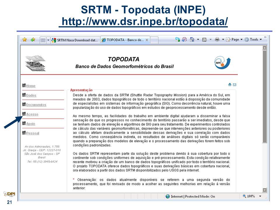 SRTM - Topodata (INPE) http://www.dsr.inpe.br/topodata/ http://www.dsr.inpe.br/topodata/ 21