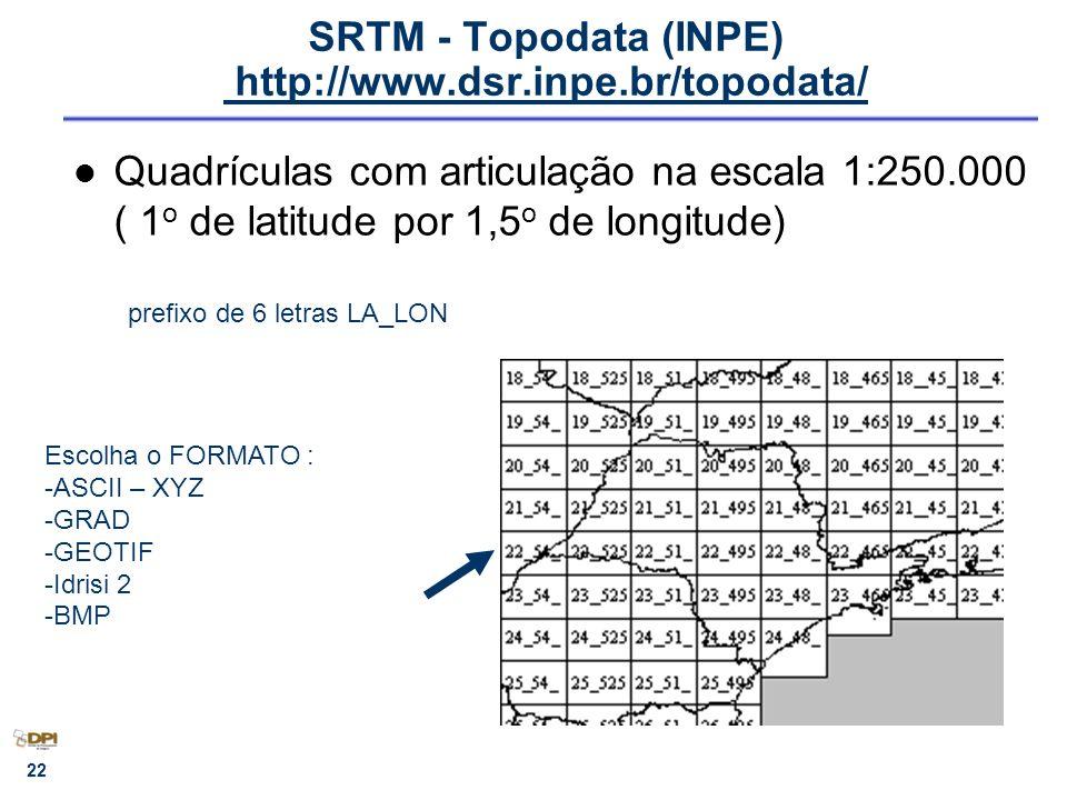 SRTM - Topodata (INPE) http://www.dsr.inpe.br/topodata/ http://www.dsr.inpe.br/topodata/ Quadrículas com articulação na escala 1:250.000 ( 1 o de lati