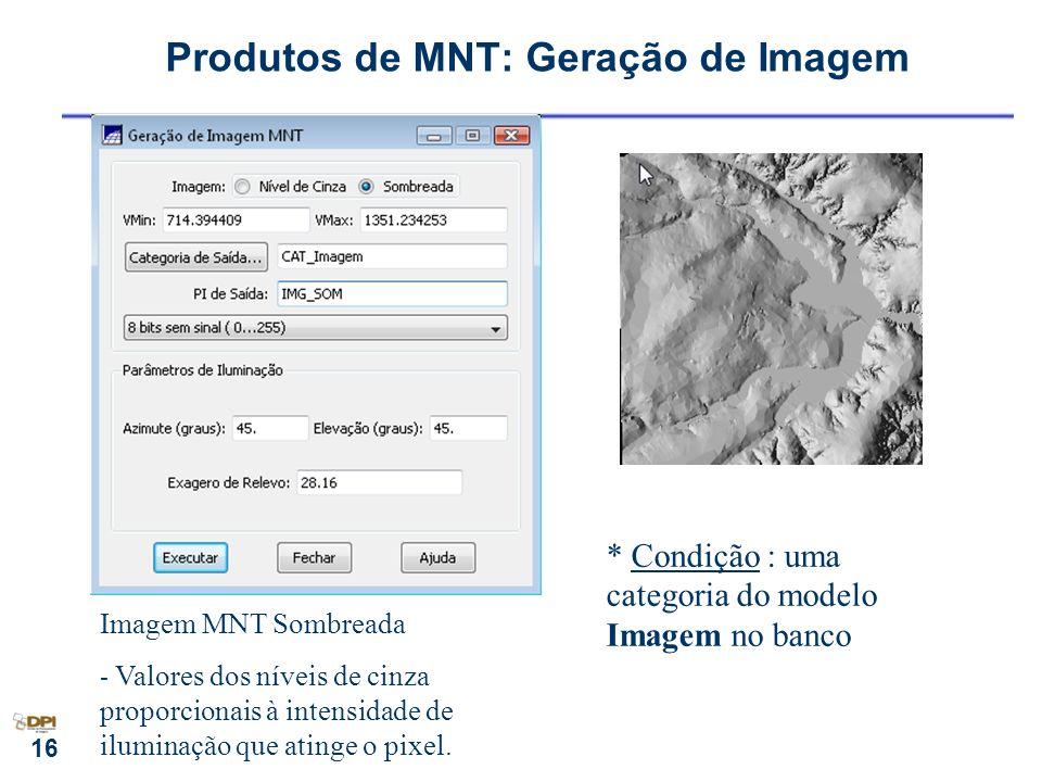 16 Produtos de MNT: Geração de Imagem Imagem MNT Sombreada - Valores dos níveis de cinza proporcionais à intensidade de iluminação que atinge o pixel.