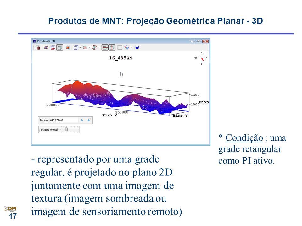 17 - representado por uma grade regular, é projetado no plano 2D juntamente com uma imagem de textura (imagem sombreada ou imagem de sensoriamento rem