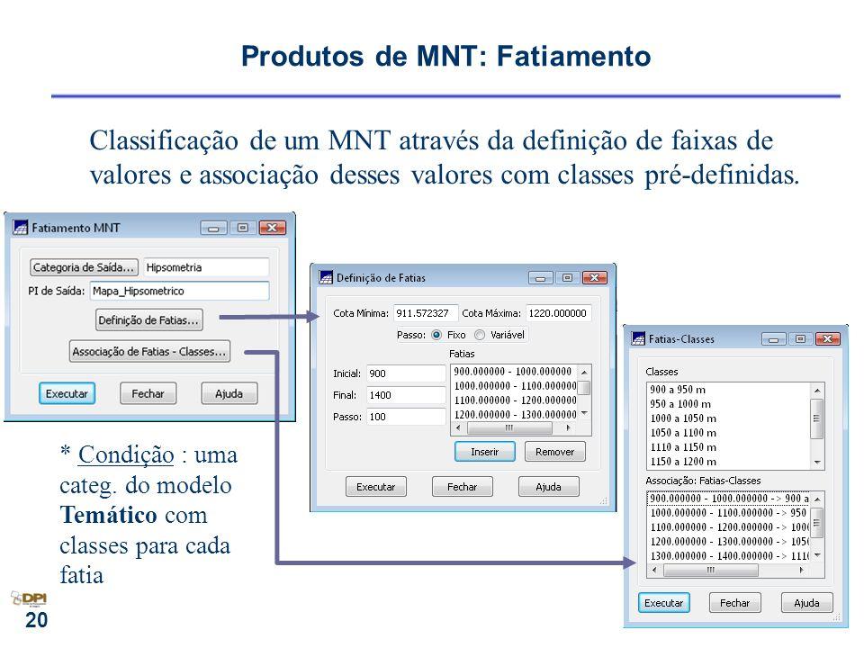 20 Produtos de MNT: Fatiamento Classificação de um MNT através da definição de faixas de valores e associação desses valores com classes pré-definidas