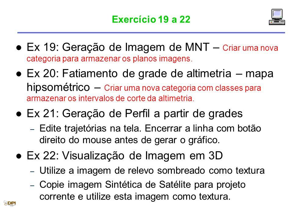 Exercício 19 a 22 Ex 19: Geração de Imagem de MNT – Criar uma nova categoria para armazenar os planos imagens. Ex 20: Fatiamento de grade de altimetri