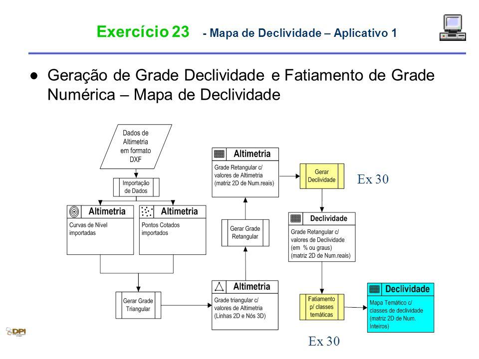 Exercício 23 - Mapa de Declividade – Aplicativo 1 Geração de Grade Declividade e Fatiamento de Grade Numérica – Mapa de Declividade Ex 30