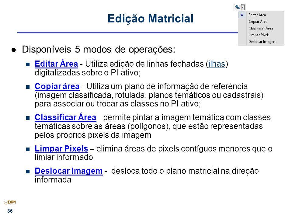 36 Edição Matricial Disponíveis 5 modos de operações: Editar Área - Utiliza edição de linhas fechadas (ilhas) digitalizadas sobre o PI ativo;ilhas Cop