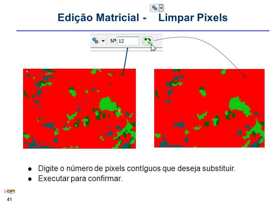 41 Edição Matricial - Limpar Pixels Digite o número de pixels contíguos que deseja substituir. Executar para confirmar.