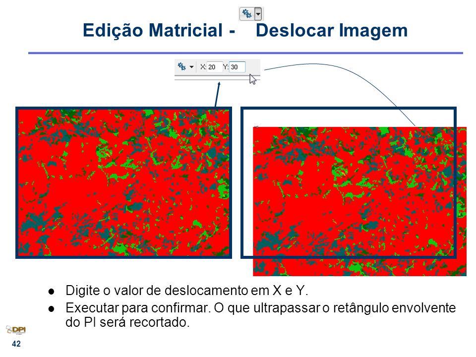42 Edição Matricial - Deslocar Imagem Digite o valor de deslocamento em X e Y. Executar para confirmar. O que ultrapassar o retângulo envolvente do PI