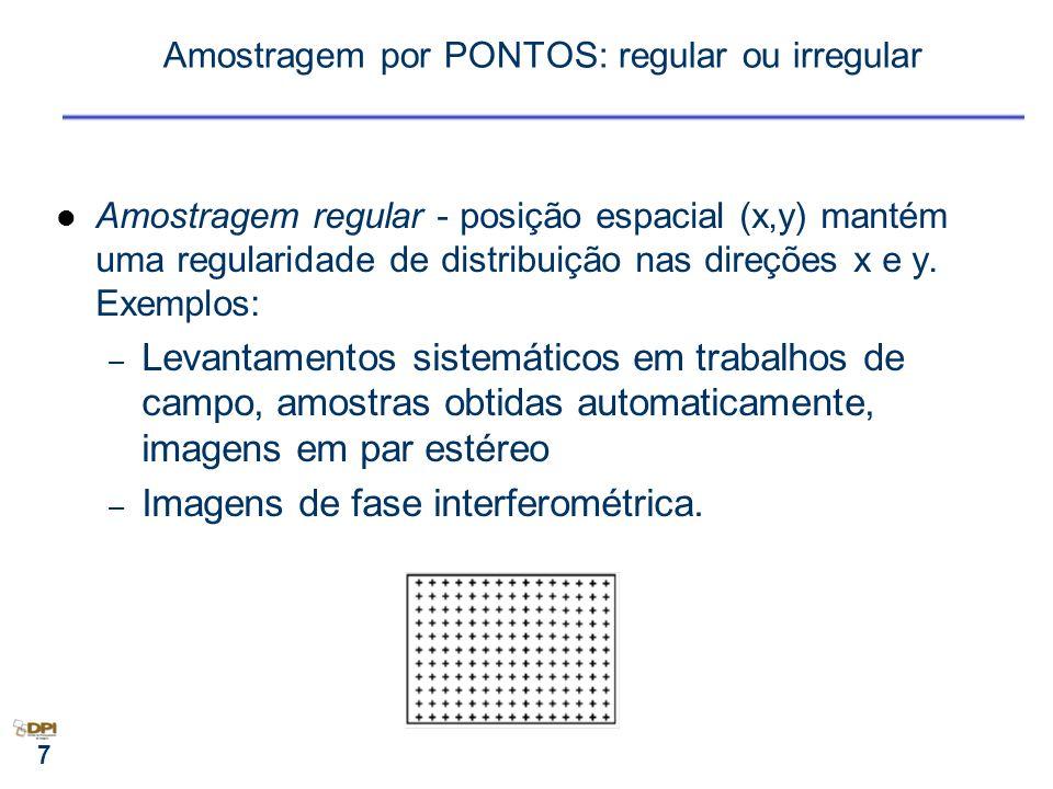 7 Amostragem por PONTOS: regular ou irregular Amostragem regular - posição espacial (x,y) mantém uma regularidade de distribuição nas direções x e y.