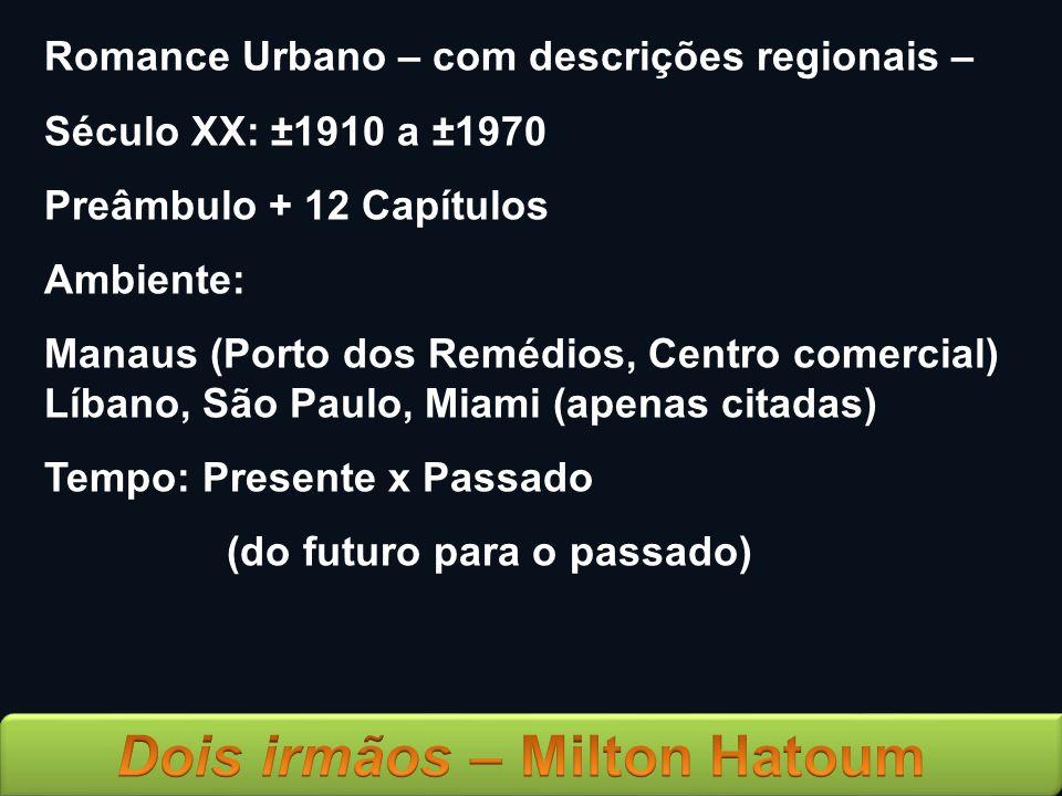 Romance Urbano – com descrições regionais – Século XX: ±1910 a ±1970 Preâmbulo + 12 Capítulos Ambiente: Manaus (Porto dos Remédios, Centro comercial)