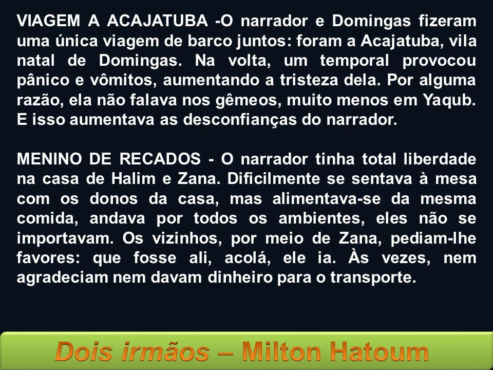 VIAGEM A ACAJATUBA -O narrador e Domingas fizeram uma única viagem de barco juntos: foram a Acajatuba, vila natal de Domingas. Na volta, um temporal p