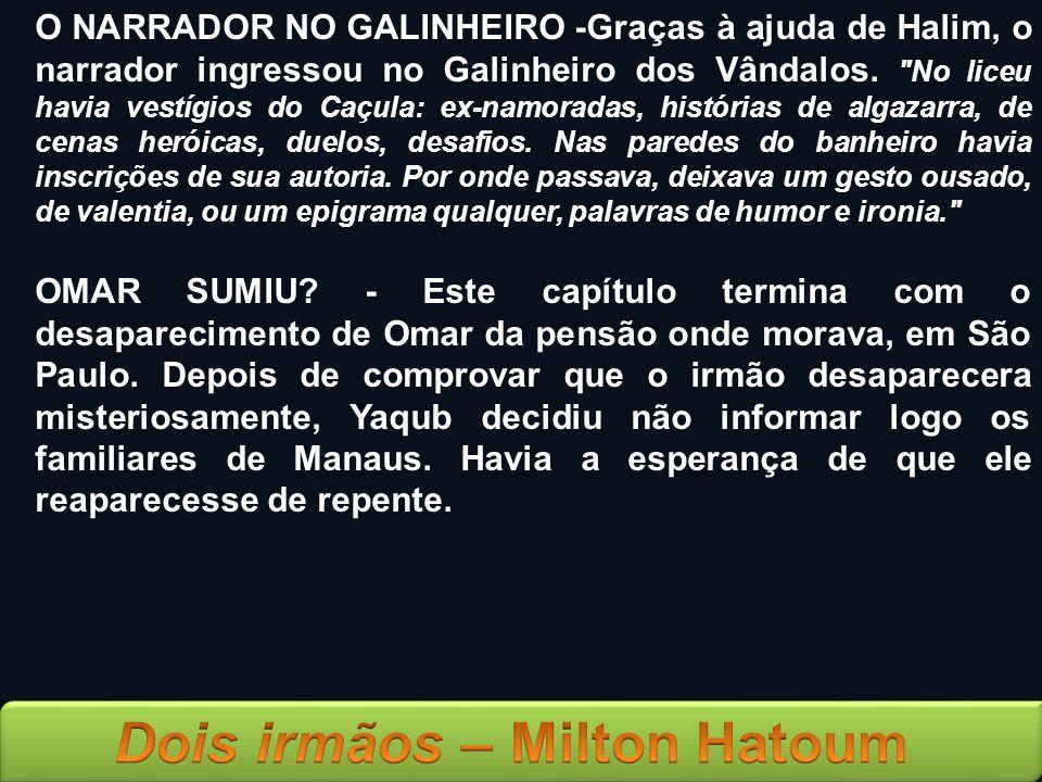 O NARRADOR NO GALINHEIRO -Graças à ajuda de Halim, o narrador ingressou no Galinheiro dos Vândalos.