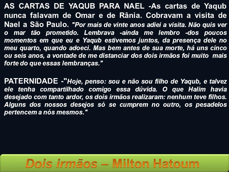 AS CARTAS DE YAQUB PARA NAEL -As cartas de Yaqub nunca falavam de Omar e de Rânia. Cobravam a visita de Nael a São Paulo.