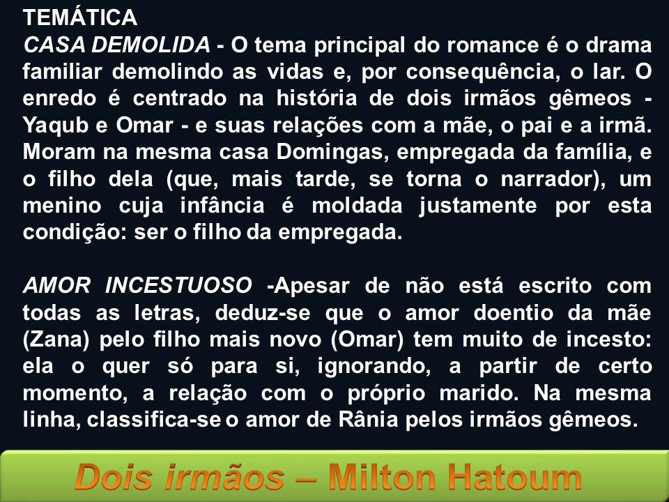 TEMÁTICA CASA DEMOLIDA - O tema principal do romance é o drama familiar demolindo as vidas e, por consequência, o lar. O enredo é centrado na história