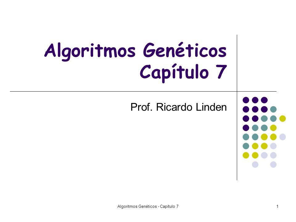 Algoritmos Genéticos - Capítulo 71 Algoritmos Genéticos Capítulo 7 Prof. Ricardo Linden