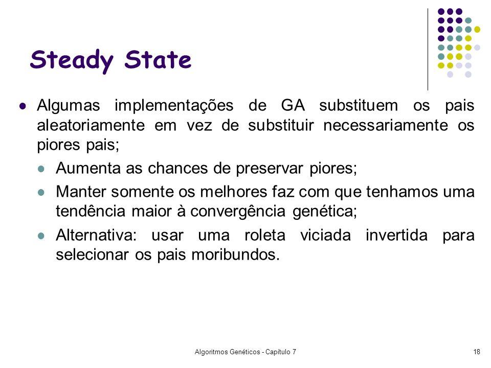 Algoritmos Genéticos - Capítulo 718 Steady State Algumas implementações de GA substituem os pais aleatoriamente em vez de substituir necessariamente o