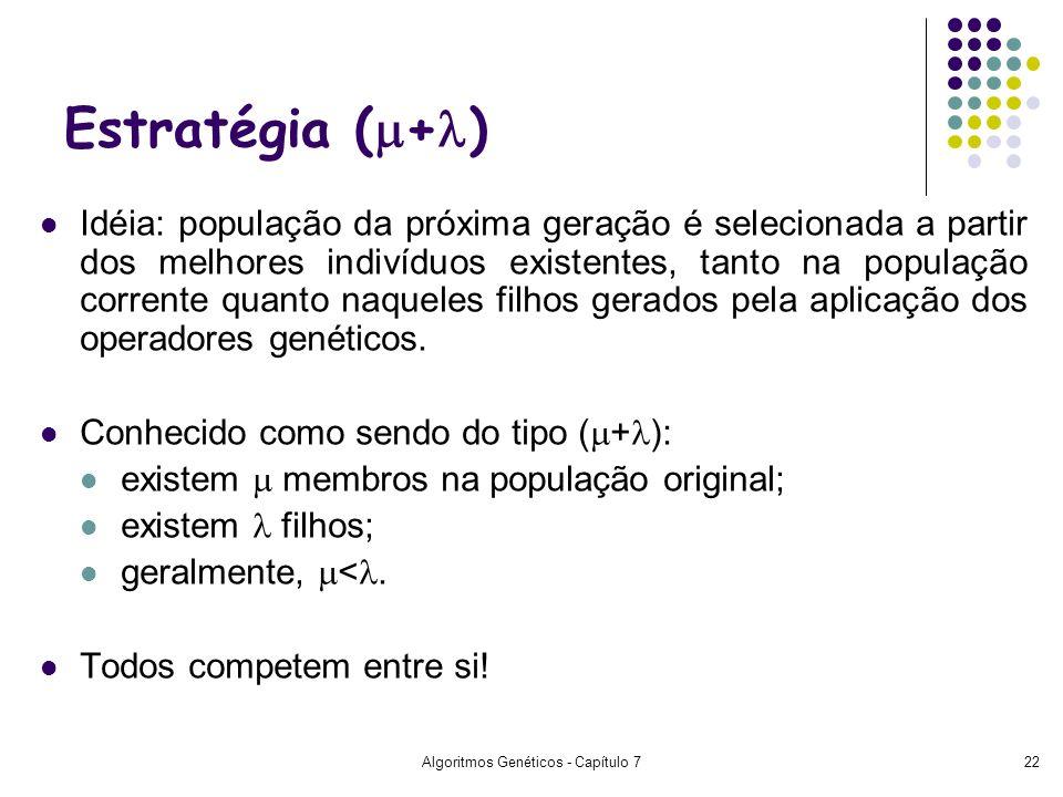 Algoritmos Genéticos - Capítulo 722 Estratégia ( + ) Idéia: população da próxima geração é selecionada a partir dos melhores indivíduos existentes, ta