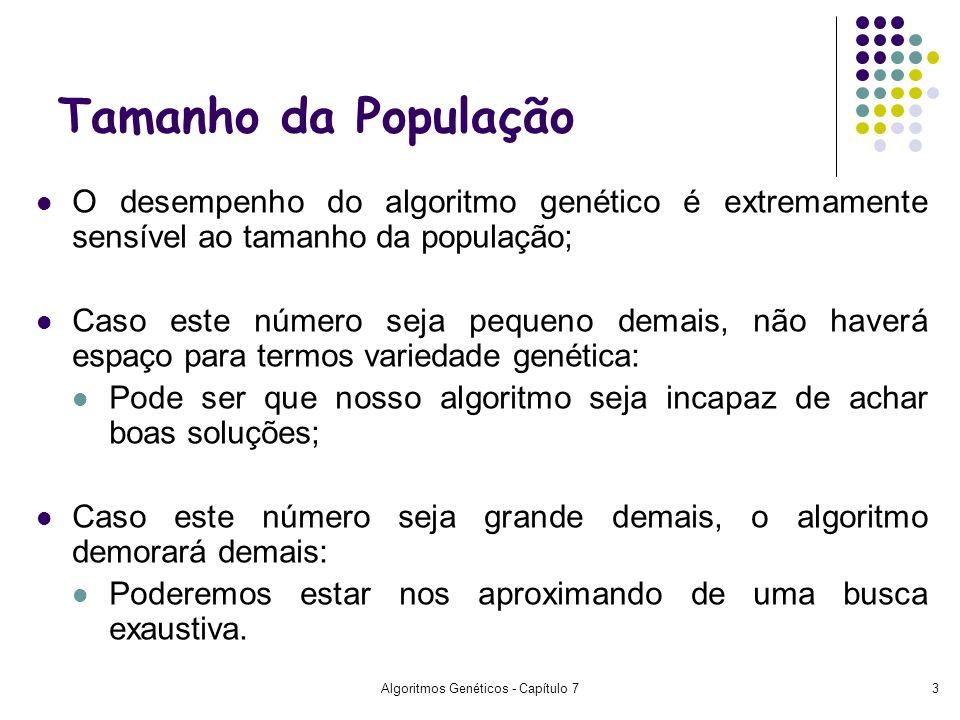 Algoritmos Genéticos - Capítulo 73 Tamanho da População O desempenho do algoritmo genético é extremamente sensível ao tamanho da população; Caso este