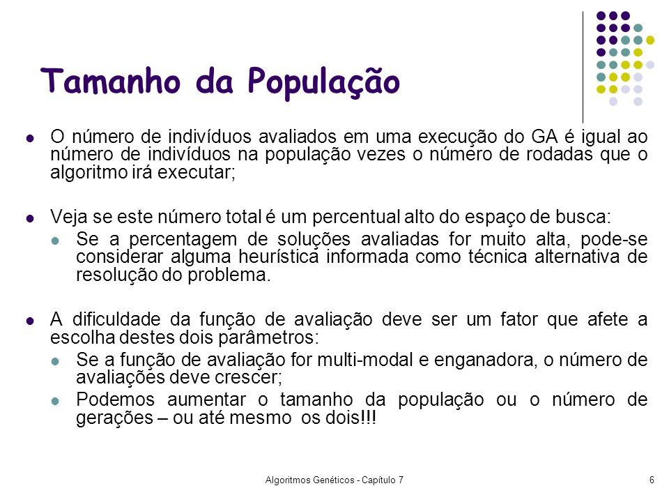 Algoritmos Genéticos - Capítulo 76 O número de indivíduos avaliados em uma execução do GA é igual ao número de indivíduos na população vezes o número