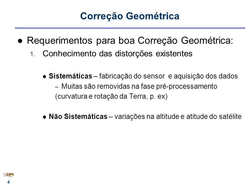 15 Transformações geométricas Ortogonal - 3 parâmetros 1 rotação, 2 translações Similaridade - 4 parâmetros 1 rotação, 1 escala, 2 translações Afim ortogonal - 5 parâmetros 1 rotação, 2 escalas, 2 translações Afinidade - 6 parâmetros ( Polinômio 1 o grau ) 1 rotação, 1 rotação residual, 2 escalas, 2 translações Polinomiais - 6 parâmetros SPRING